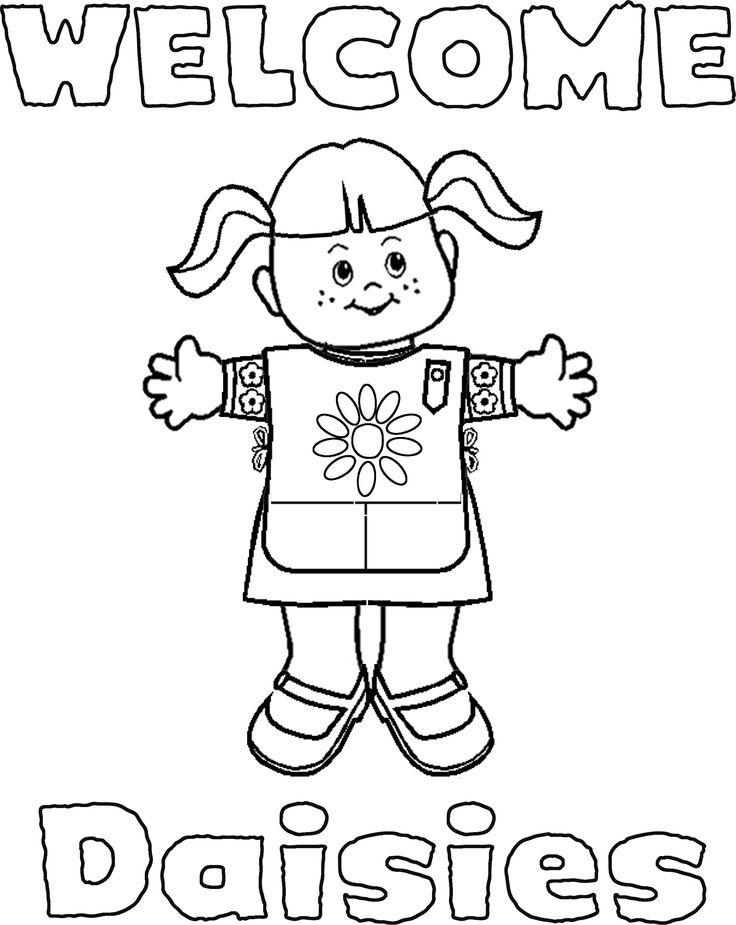 coloring pages for daisy scouts girl scout coloring page super coloring welcome signs for daisies - Girl Scout Brownie Coloring Pages