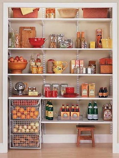 kitchen pantry organization ideas....I definitely want solid shelves NOT closet maid shelves because things fall through cracks in pantry now:(