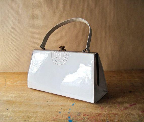 Mid Century White Patent Leather Purse Handbag By Rushcreekvintage