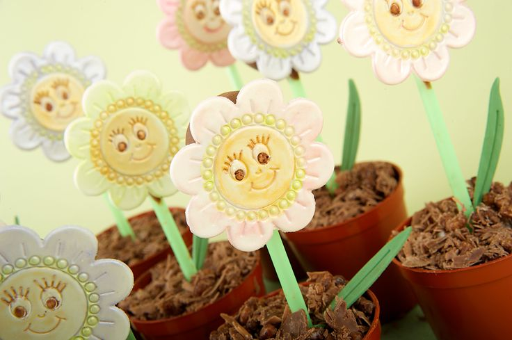These flower faces from our Fun Faces Set make great decorations for Children's cakes & cup (flower pot) cakes.