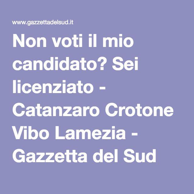 Non voti il mio candidato? Sei licenziato - Catanzaro Crotone Vibo Lamezia - Gazzetta del Sud online