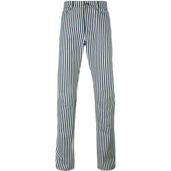 Proper Gang striped tapered trousers (2,755 EGP) ❤ liked on Polyvore featuring men's fashion, men's clothing, men's pants, men's casual pants, black, mens tuxedo stripe pants, mens tapered pants, mens cotton pants, mens striped pants and men's casual cotton pants