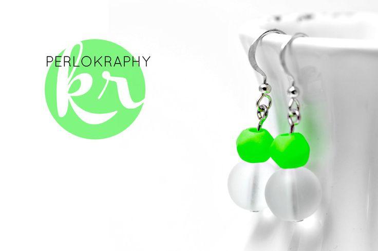Ohrhänger - Ohrringe Neon grün - ein Designerstück von Perlokraphy bei DaWanda