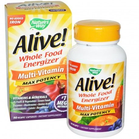 Nature S Way Alive Whole Food Energizer Multi Vitamin Max Potency No Added Iron 90 Vcaps