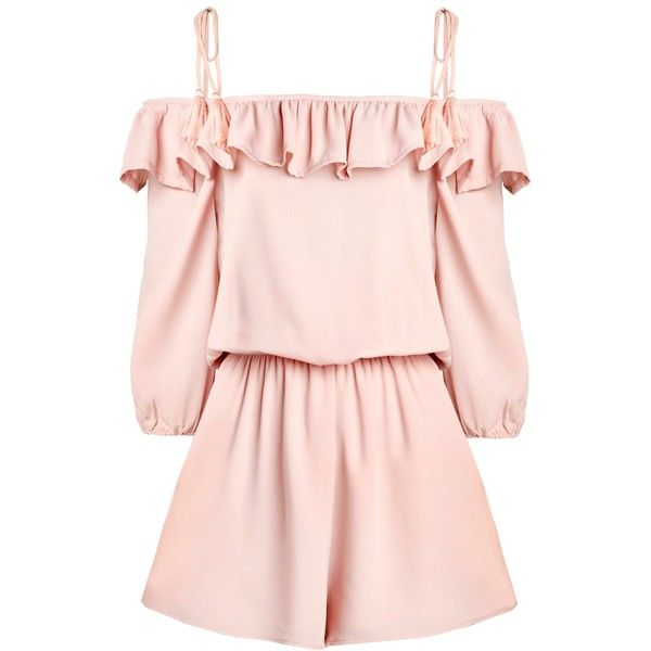 Ruffled Pink Romper ($48) ❤ liked on Polyvore featuring jumpsuits, rompers, ruffle romper, flounce romper, playsuit romper, ruffle rompers and pink rompers