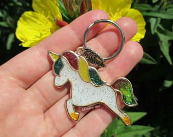 Sparkling Rasta Unicorn Keychain