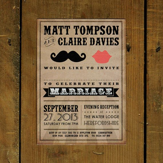 Moustache & Lips - Wedding Invitation Suite and Save the Date - Printable DIY Option on Etsy, $2.50