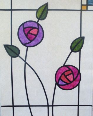 Stained Glass Applique Mackintosh Rose, This beautiful panel showing Mackintosh style roses in jewel colours is really simple and straightforward to make, using fusible bias tape. Cottons and even scraps of silk for the flowers create a gorgeous stained glass effect. Course is running on Monday 16th February. To book go to www.colessewingcentre.co.uk. #Sewing #sewingclasses #Nottingham #applique #mackintosh