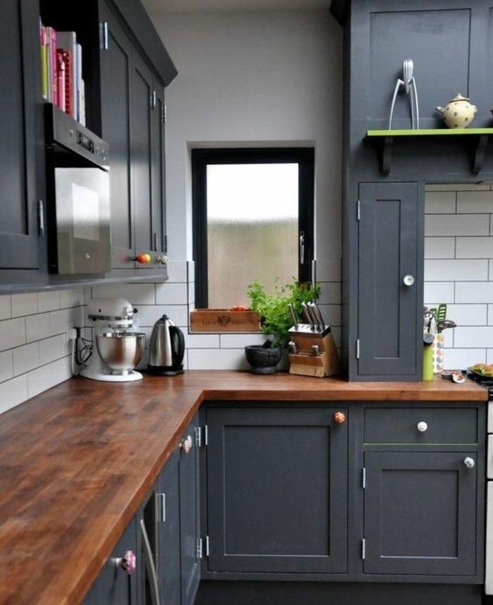 couleur mur cuisine grise, peinture meuble cuisine anthracite, peinture carrelage blanche