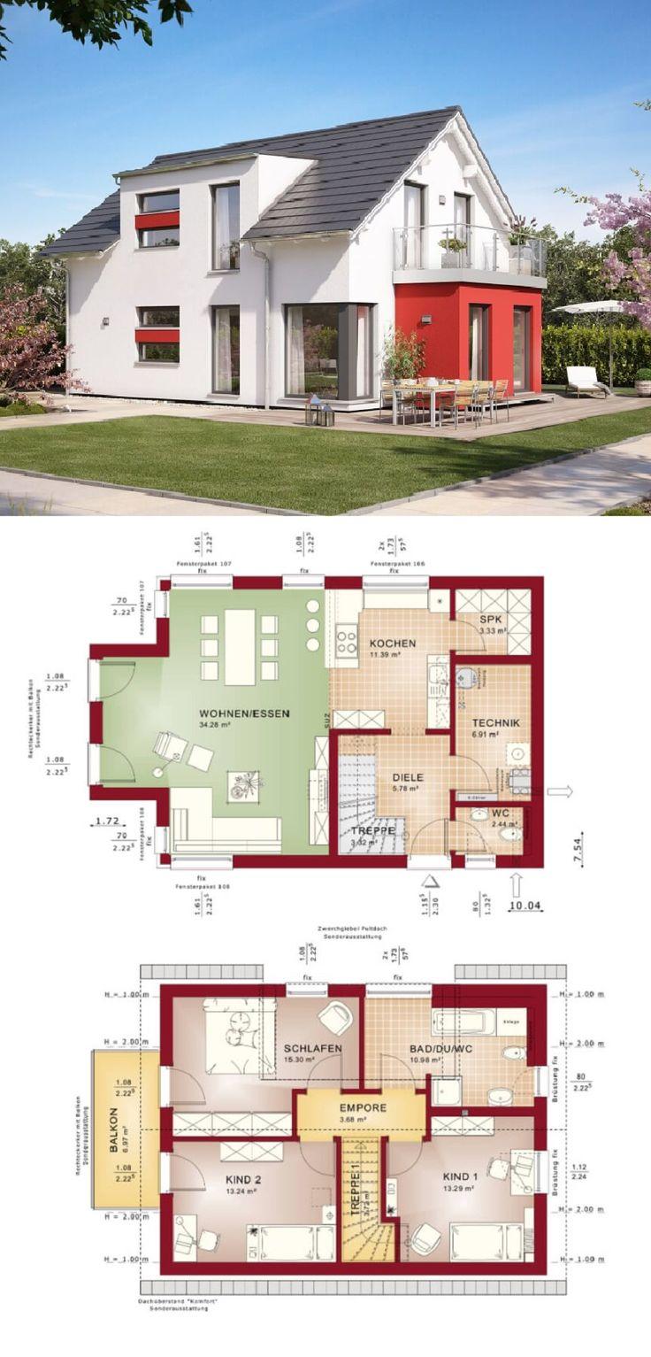 Fertighaus Mit Satteldach Und Erker Anbau Rot   Haus Grundriss Edition 3 V5  Bien Zenker