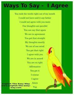 """Distintas maneras de decir """"I agree..."""" (estoy de acuerdo) en inglés"""
