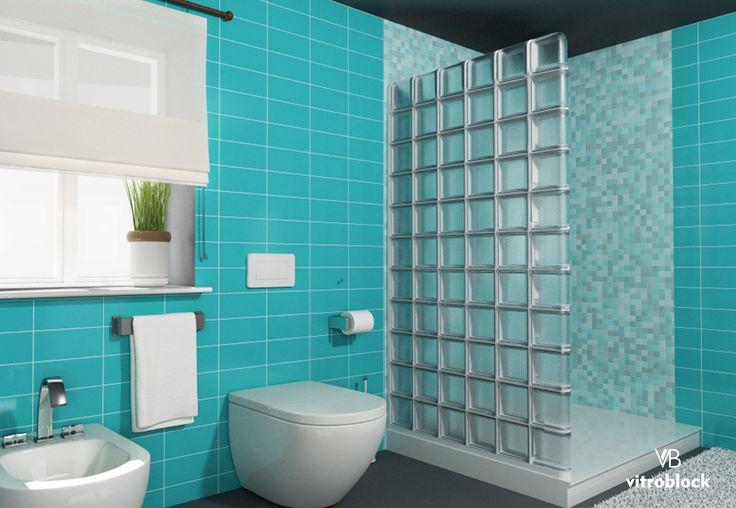 Pared divisoria de ducha realizada con ladrillo de vidrio modelo Artic simil Satinado, terminal lineal y angular utilizado en ducha. . . . #Vitroblock #LadrilloDeVidrio #Arquitectura #Toilette #Duchas #Hogar #Baños #Departamentos #CasaIdeas