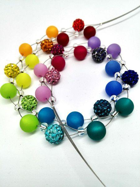 Ketten kurz - Bunte Polariskette Kette bunt Regenbogen  - ein Designerstück von Oase-der-Perlen bei DaWanda