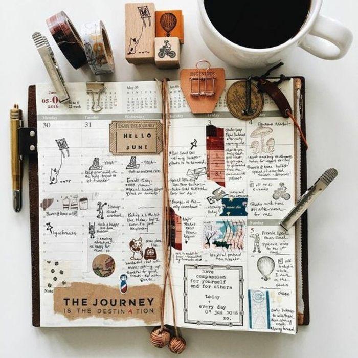 exemple de carnet de voyage, juin, crayons, scotch, gomme à crayon