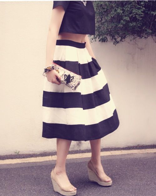 happie loves it  stripy linen midi skirt  2014ss