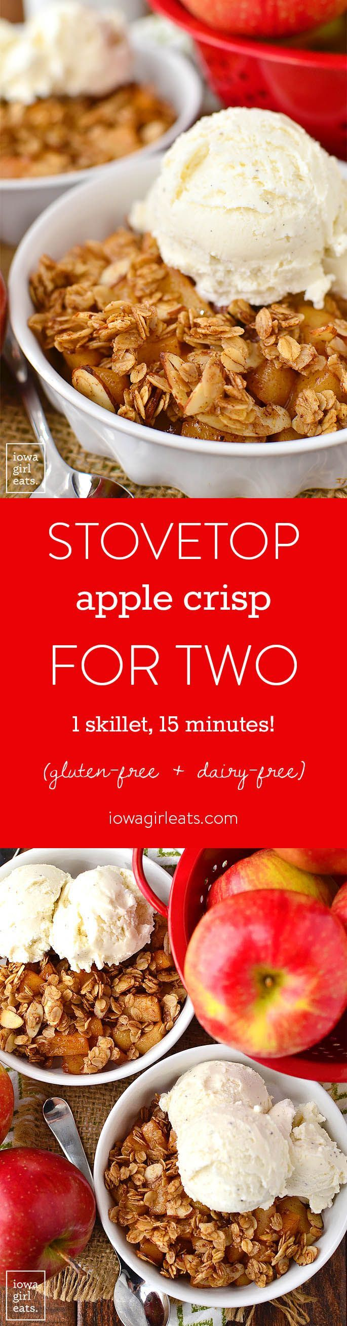 Stovetop Apple Crisp for Two is for when you're craving apple crisp, but don't want to make a big batch that has to bake for an hour. Just 1 skillet and 15 minutes is all you need!   iowagirleats.com