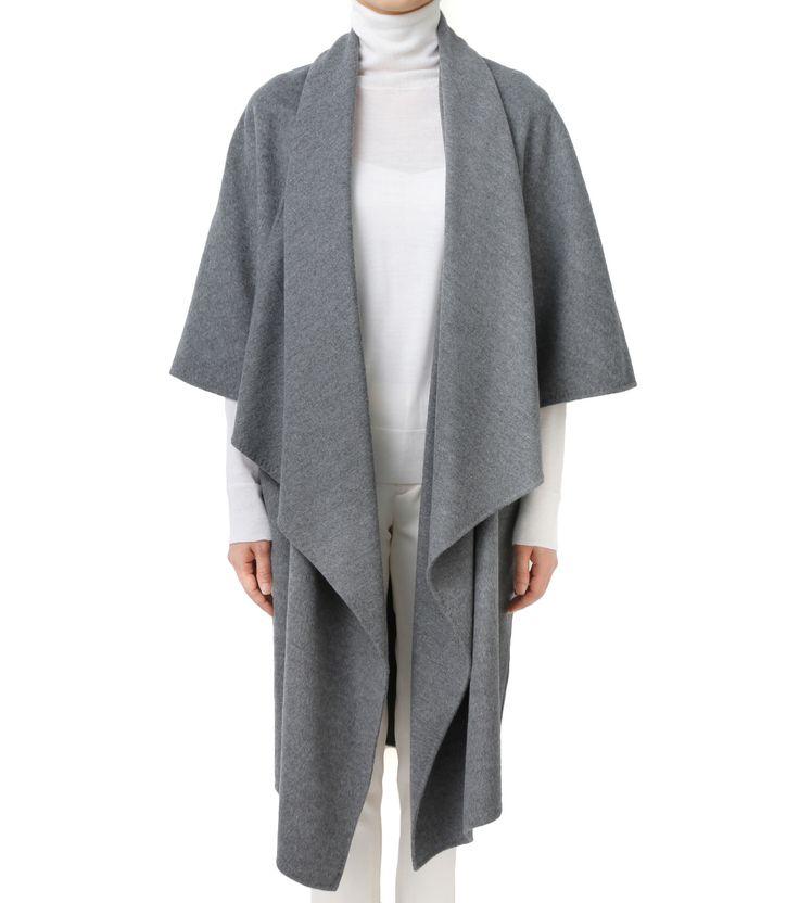 ルシェルブルー/LE CIEL BLEU | ブランケットフレアコート-GRAY(コート/coat) | 日本国内配送料無料 | 羽織るだけでこなれ感を演出できるブランケットコート。一枚の布を折り返したようなシンプルなデザインが、ミニマルモダンなフォルムを表現。柔らかでしなやかなメルトンは1枚仕立てで仕上げる | セレクトショップ RESTIR