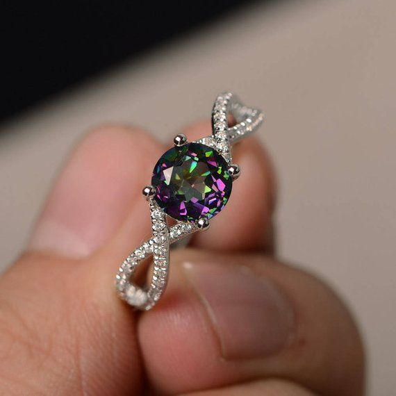 Real Mystic Topaz Rings Rainbow Wedding Rings Round Cut Rainbow Gems Rings Silver Ring Customized Rings