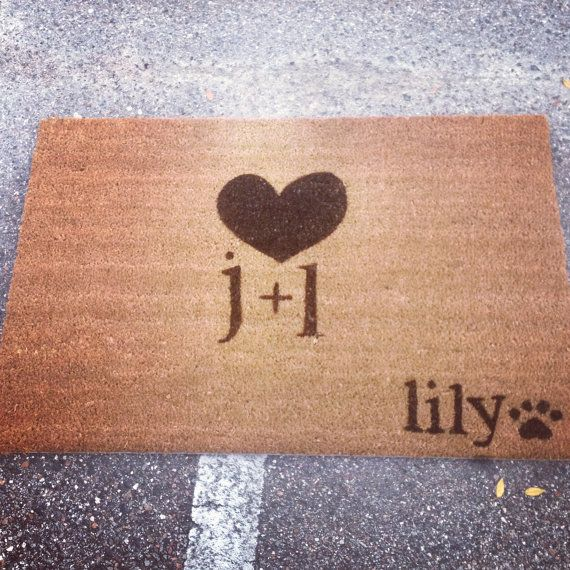 Couples Custom Made  Outdoor Doormat/Welcome Mat - SINGLE INITIALS w/ HEART and 2 Pet/Child Initial Added w/ Anchor/Symbol/Heart/Name