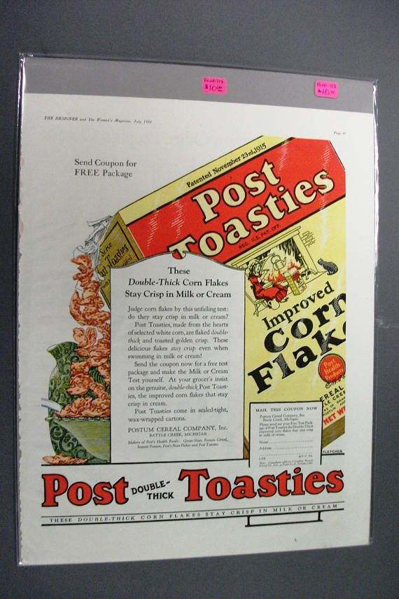 Food 117  Post Toasties Cereal  July 1924 Woman's Mag.