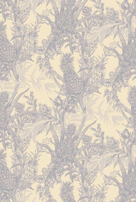 Timorous Beasties wallcoverings, Pineapple, greys on cream