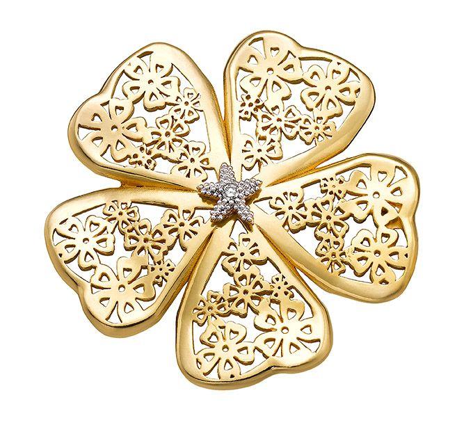 Broche de oro Flor de almendro