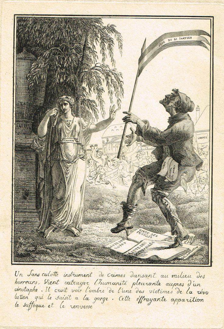 """""""Un sans-culotte Instrument de Crimes dansant au milieu des horreurs, vient outrager l'Humanité pleurante auprès d'un cénotaphe. Il croit voir l'ombres de l'une des victimes de la Révolution dont une le saisit à la gorge. Cette effrayante apparition le suffoque et le renverse."""" - avec la silhouette de Louis XVI"""
