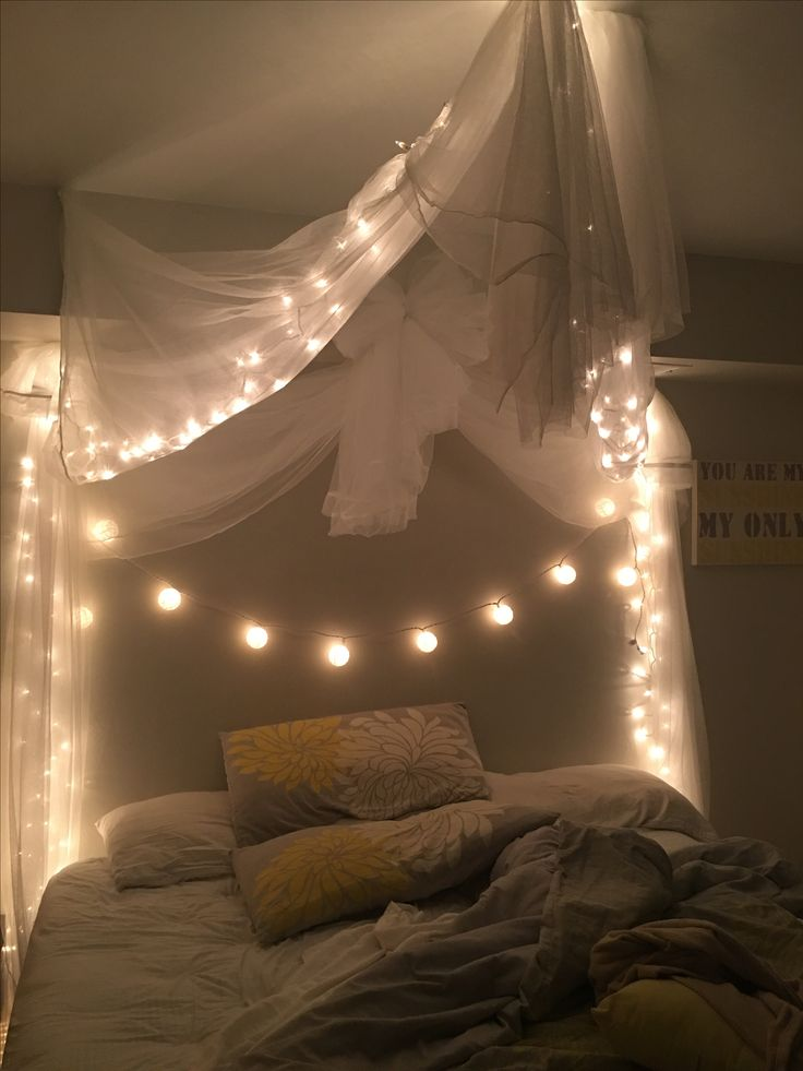 My cozy new room with twinkle lights. 😊 | Master bedroom ...
