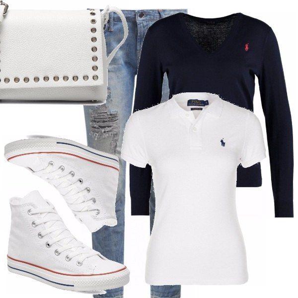 Outfit composto maggiormente da capi di Polo Ralph Lauren ed in saldo, accostamenti per un look casual con polo, jeans ed un maglioncino se rinfresca la sera, converse classiche alte bianche e tracollina. A me piace molto questo stile e a voi?