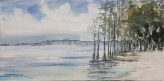 Fountanbleu beach, 6x12 #pleinair #watercolor #painting $79.