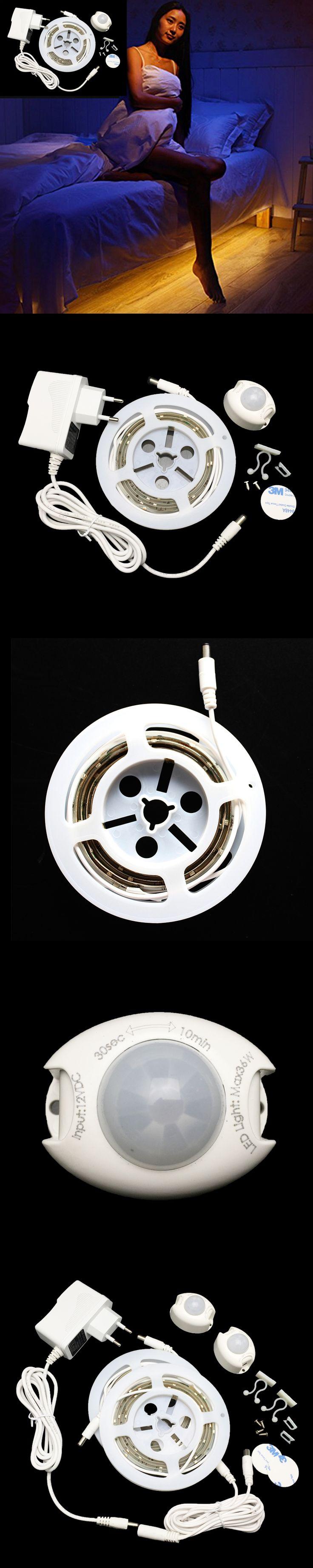 Intelligent Turn ON/OFF Human Infrared Sensor LED Strip Light Warm White 3000K Waterproof SMD2835 Strip Lighting For Bedroom