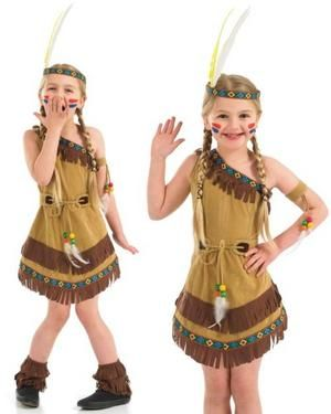 Child Red Indian Squaw Native American Fancy Dress Costume Kids Girls Female