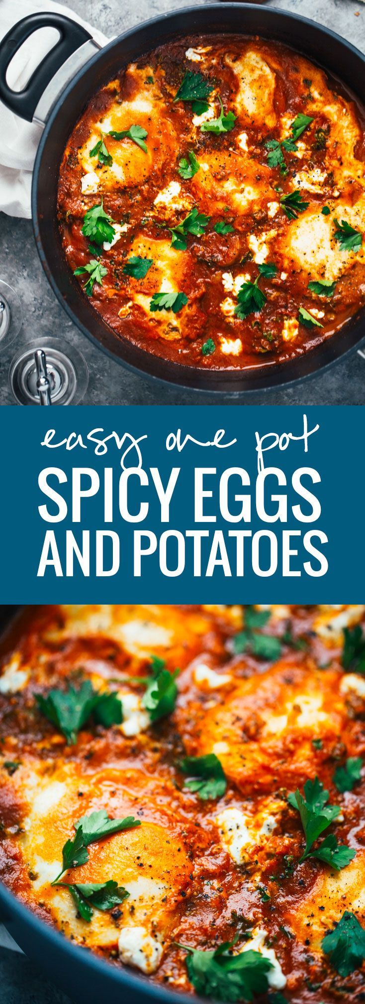 One Pot Spicy Eggs and Potatoes with Goat Cheese - a simple homemade sauce with spicy pan-fried potatoes, kale, creamy eggs, and goat cheese. Delicious!