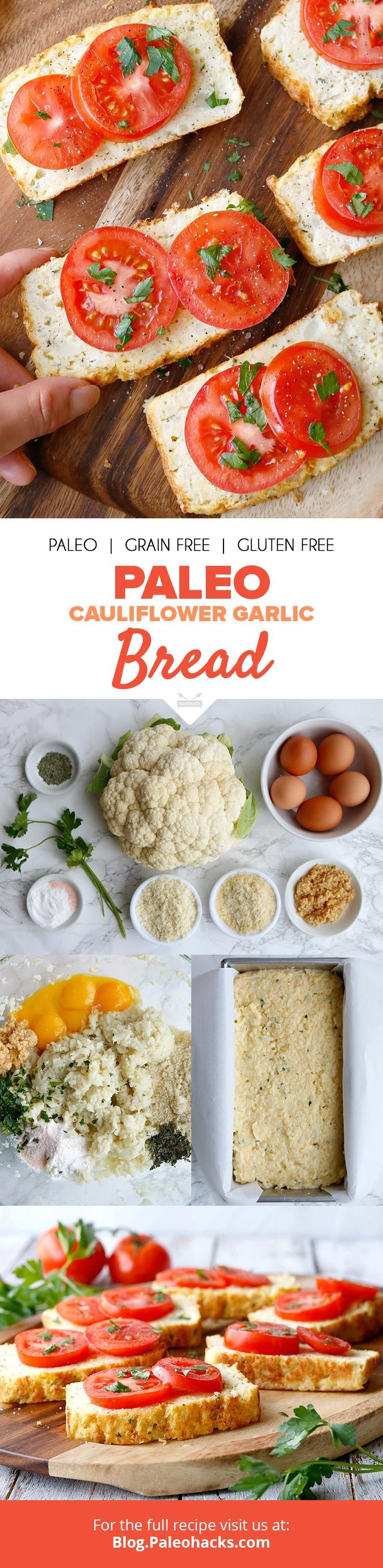 Slice up this fluffy, herb-rich garlic bread made from whipped eggs and healthy cauliflower! Get the full recipe here: http://paleo.co/cauligarlicbread