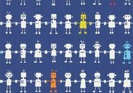 Harlequin All About Me Wallpaper - Reggie Robot - Navy Multi available at Bryella. Call 01226 767124 for a competitive price.
