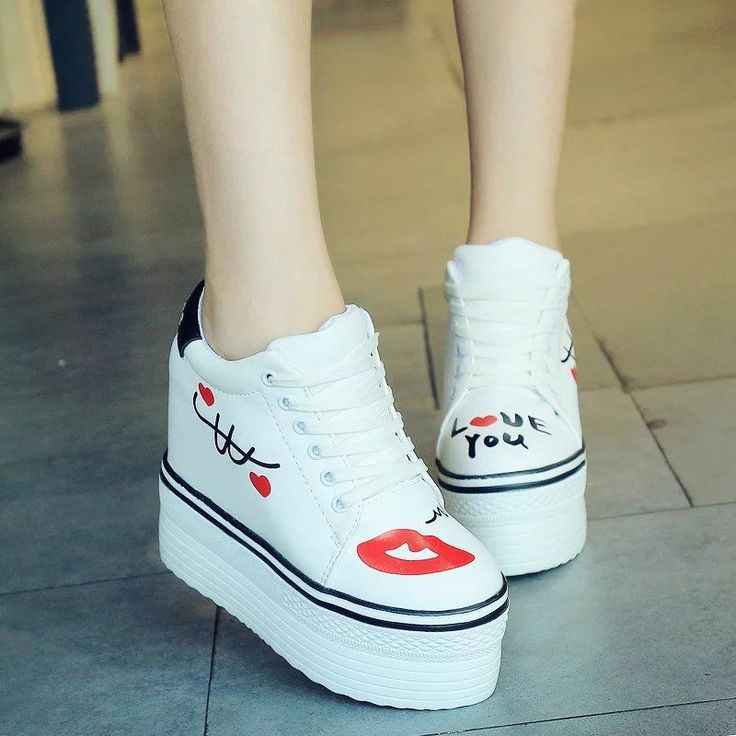Women Creeper Platform Scrawl Lace Up Heels Casual Sneakers Sport Runing Shoes