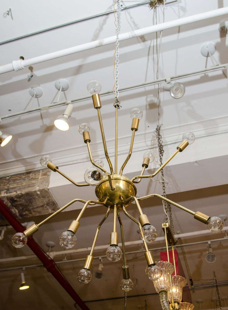 Italian Brass Spider Sputnik Chandelier Pendant Attr. to Arredoluce | From a unique collection of antique and modern chandeliers and pendants  at https://www.1stdibs.com/furniture/lighting/chandeliers-pendant-lights/