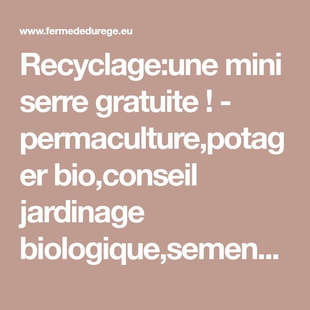 Recyclage:une mini serre gratuite ! - permaculture,potager bio,conseil jardinage biologique,semences paysannes,actualité végétale,Gironde et Dordogne,cabanes,viticulture;bricolage ecolo pour toute la famille