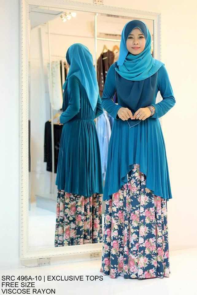 Muslimah Turqoise Floral Fishtail Dress
