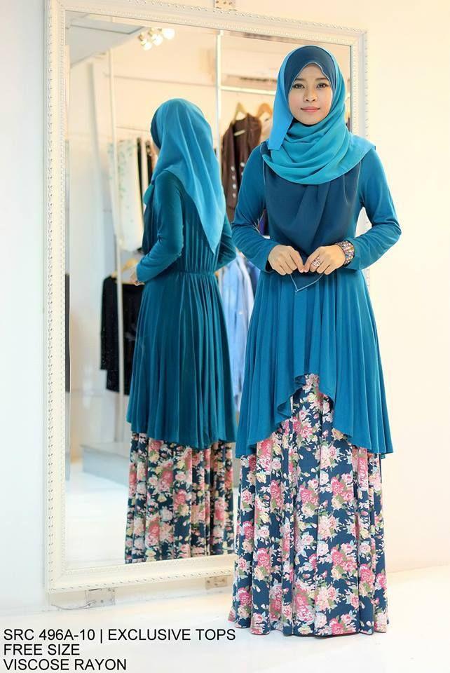 Muslimah Turqoise Floral Fishtail Dress