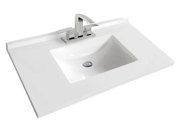 """Dessus de vanité en polymarbre 37"""" - Dessus 37-42 pouces - Dessus de vanités - Mobilier de salle de bain - Salles de bain - Produits - Bain Dépôt"""