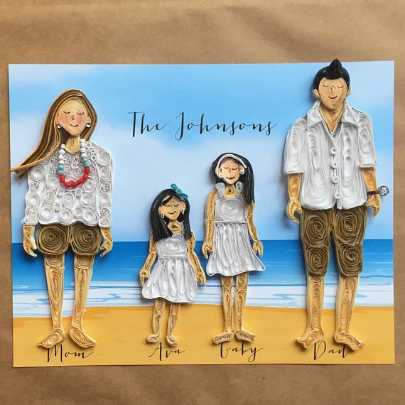 Beach Family Portrait - Personalized Portrait - Custom Portrait - Couple Portrait - Personalized Gift For Her  Anniversary Gift - Custom Art by ofthingspretty
