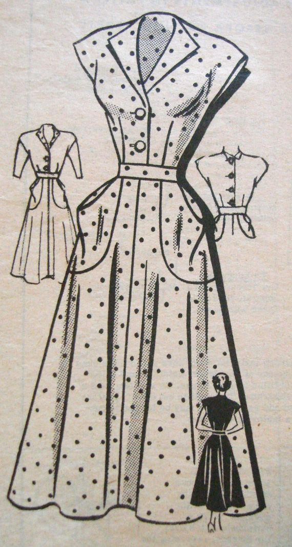 1940s Tea Dress Sewing Pattern Anne Adams 4759