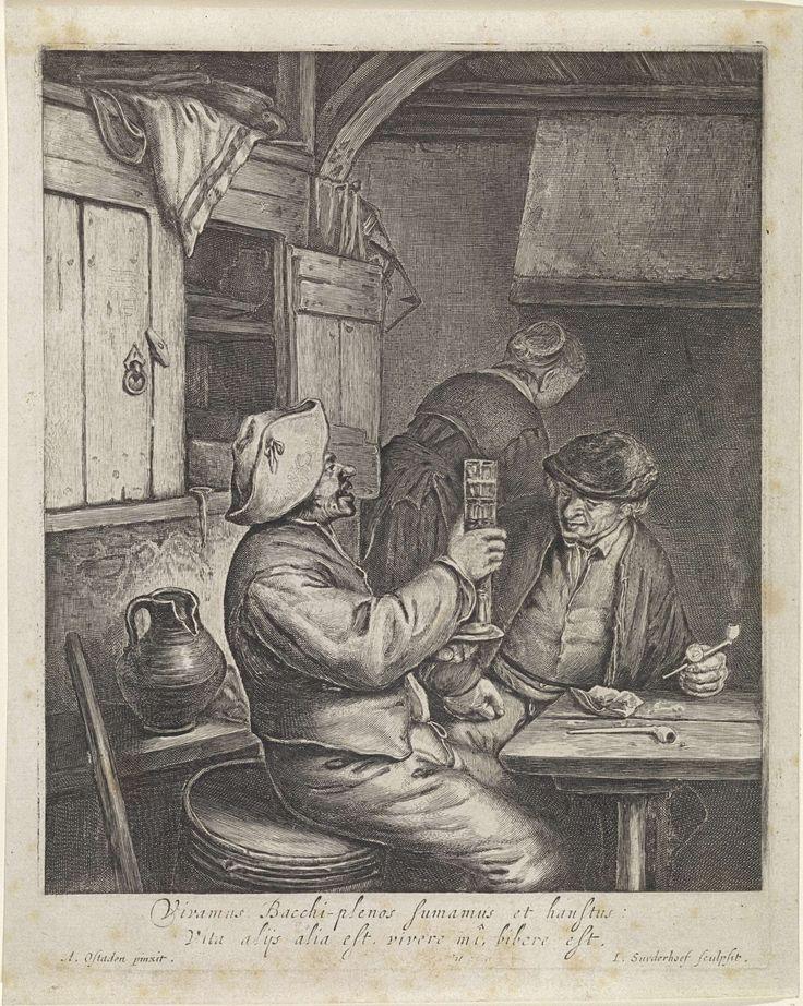 Jonas Suyderhoef | Twee boeren zittend aan een tafel, Jonas Suyderhoef, Frederik de Wit, 1645 - 1706 | Twee boeren zitten aan een tafel. De een heft een glas, de ander houdt een pijp in de hand. Op de achtergrond een vrouw op de rug gezien.