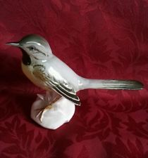 Karl Ens Grey Wagtail Bird Figure . German Porcelain Bird Figurine