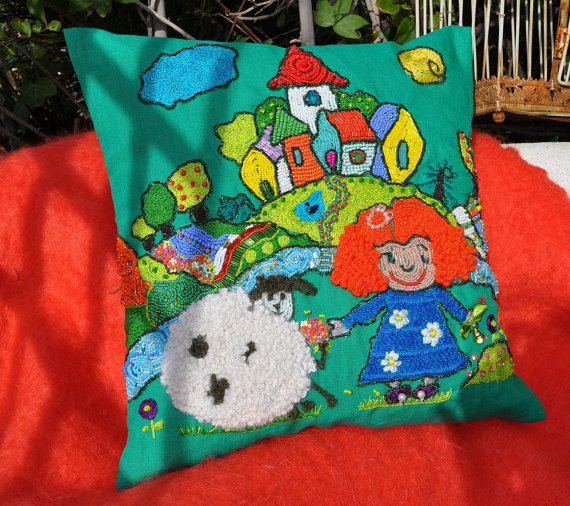 """NUEVO!!!almohadas decorativas.Funda de cojin de lino """"Princecita y Ovejita"""".cojines decorativos.Funda de cojin.Funda decorativa"""