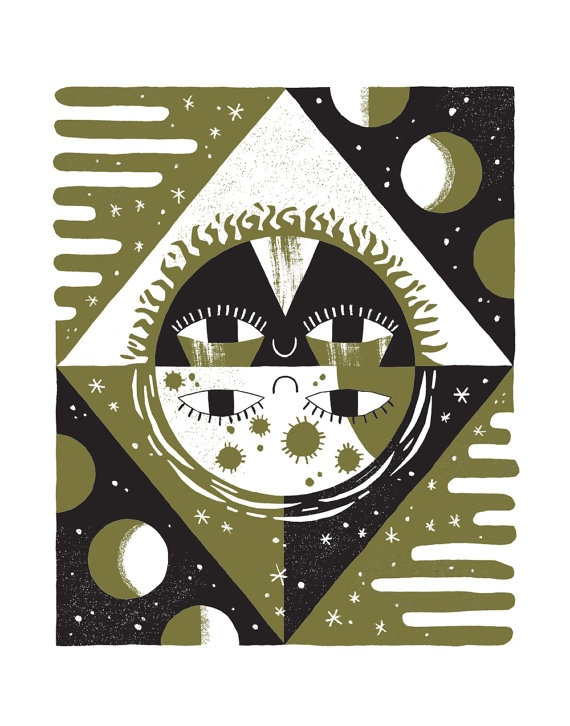 Sun and Moon Risograph Print by smalltalkstudio on Etsy, $30.00
