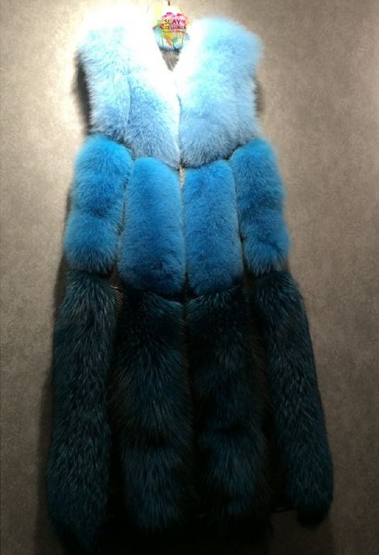 Slay Accessories. Blue ombre fur vest. Long blue fur coat.
