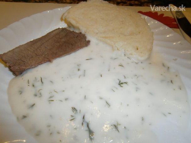Kôprová omáčka s hovädzím mäsom a knedľou (fotorecept)