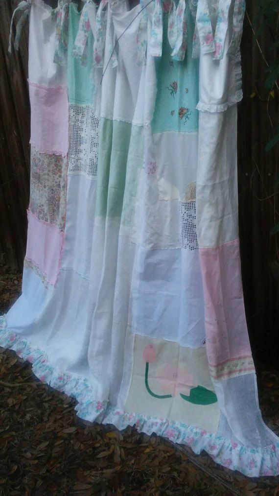 One Of A Kind Shower Curtains Part - 42: Shabby Chic Shower Curtain/One Of A Kind/Vintage Crochet/Vintage Embroidery/